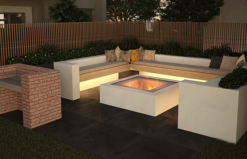 The Foundry Fire Pit 3D Render